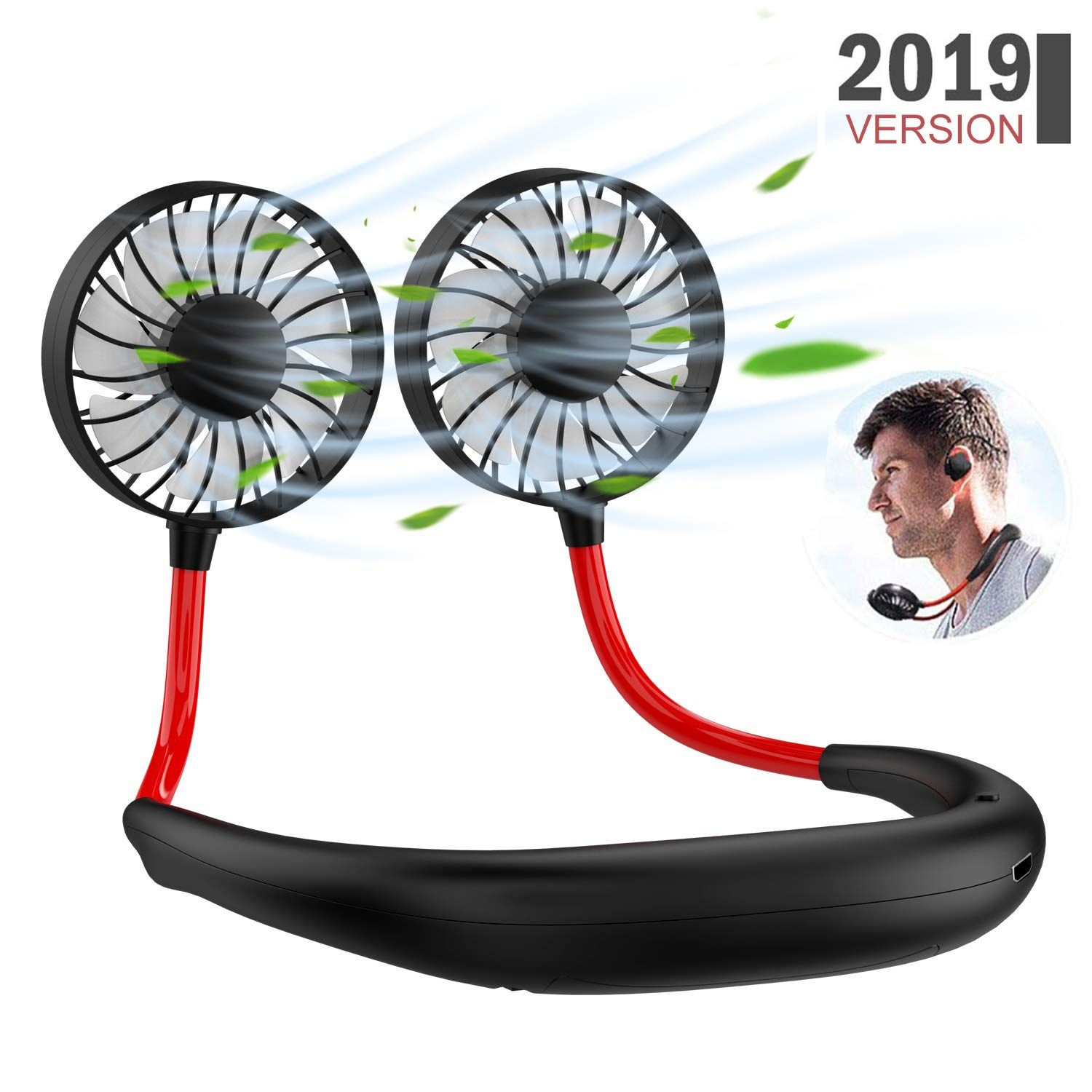 Portable Sports Neck Fan, 1800mAh USB Rechargeable Hands-Free Mini Personal Desktop Fan, 3 Wind Speeds, 7 Blades, 360 Degree Free Rotation & Wearable for Camping Traveling Office