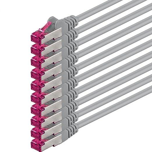 4 opinioni per 0,25m- grigio- 10 pezzi- Rete Cavi Cat6a | S-FTP | CAT 6a | doppia schermatura-