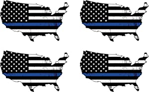 Blue Lives Matter Thin Blue Line Police Officer 4 Pack Flag United States Outline Flag Vinyl Decal Bumper Sticker for Car Truck RV SUV & Boats Window Support of Police and Law Enforcement