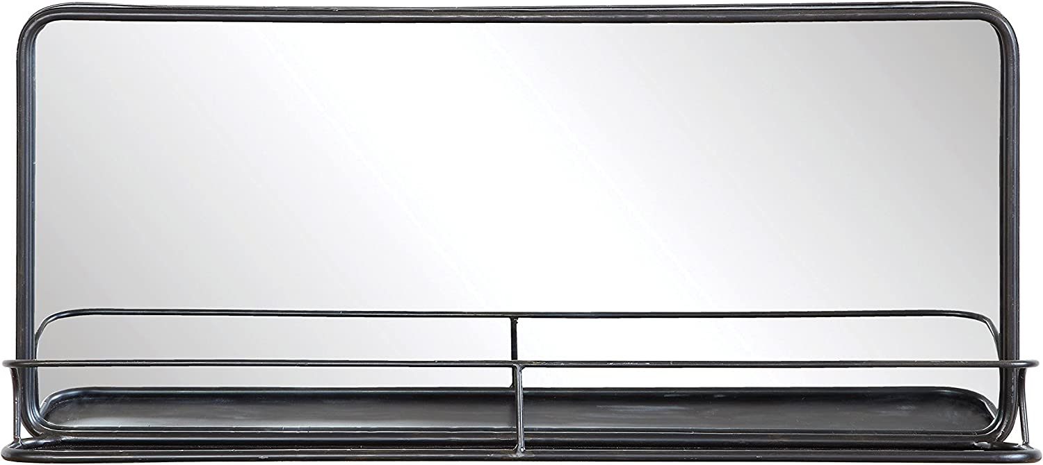 Creative Co-op Rectangle Metal Wall Mirror with Shelf, Double Vanity, Black