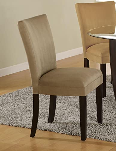 Coaster Home Furnishings Set of 2 Parson Dining Chairs Camel Microfiber