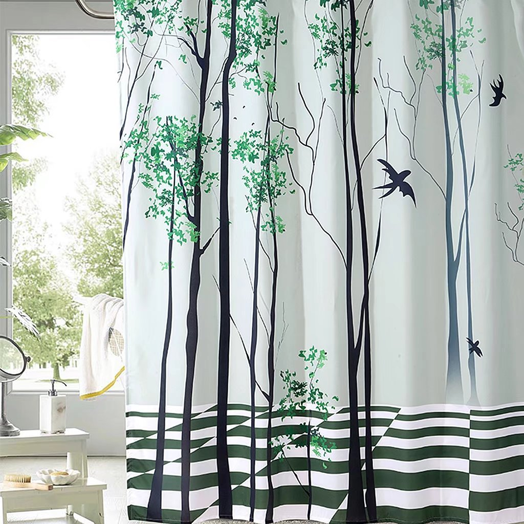 Bathroom Trees & Birds Shower Curtain With Hooks, Waterproof and Mould Proof Resistant Polyester fabric, White, Green and Black, 180cm*180cm Jiaju