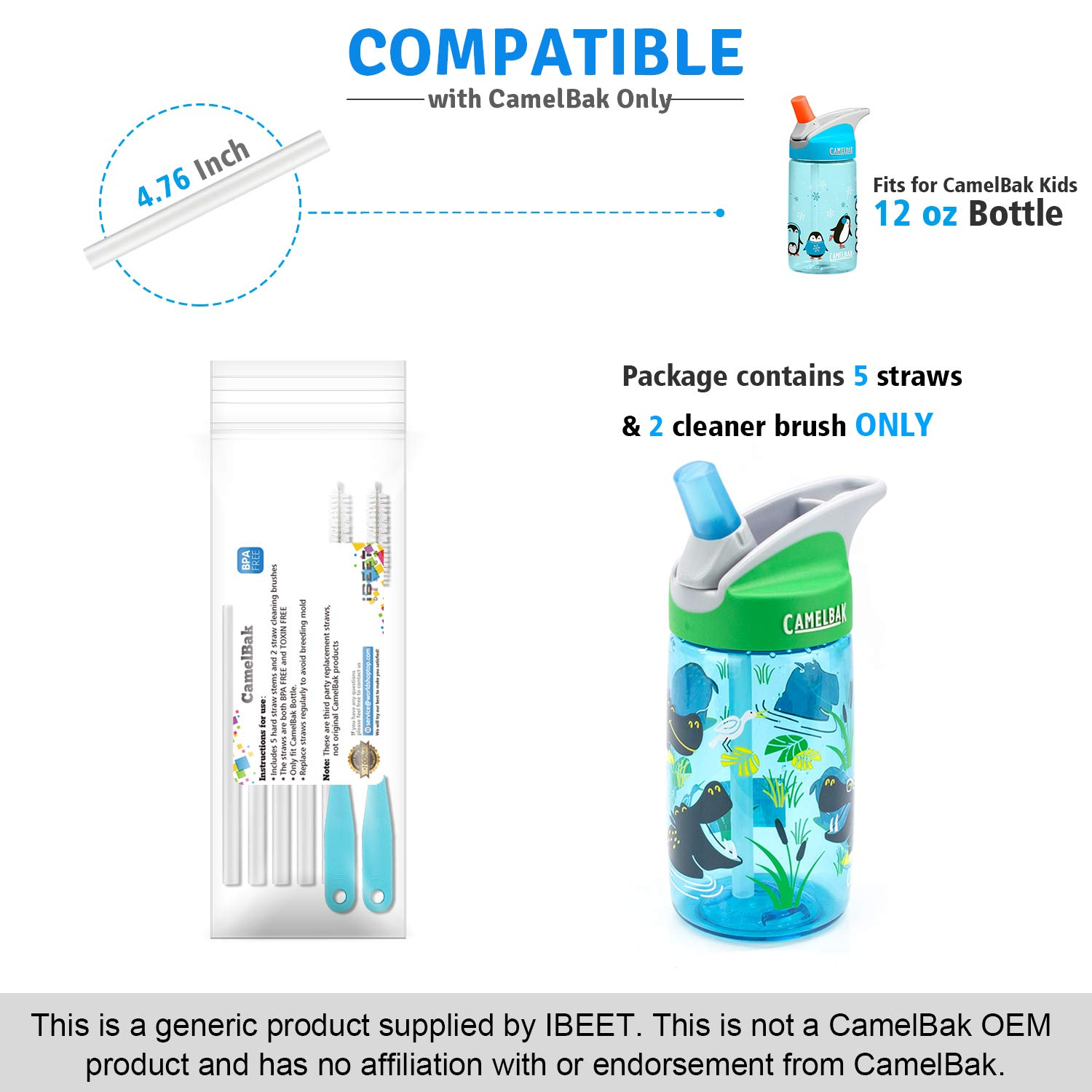ae71acb14f Amazon.com: IBEET Replacement Straws Set for CamelBak eddy Kids 12oz Water  Bottle, Accessory 5 Drinking Straws and 2 Straw Cleaning Brushes Fit for  CamelBak ...