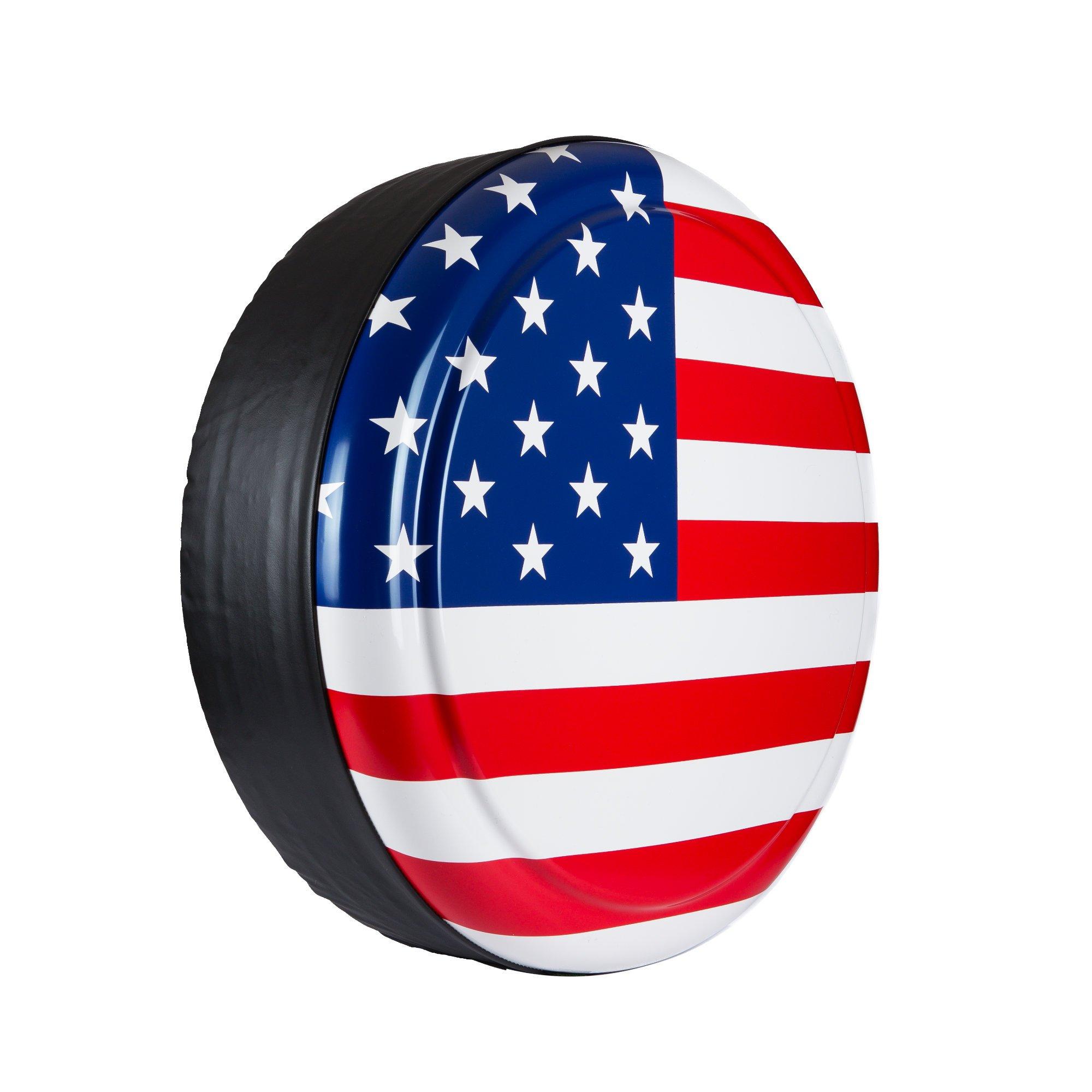 35'' Rigid Tire Cover - (Hard Plastic Face & Vinyl Band) - American Flag