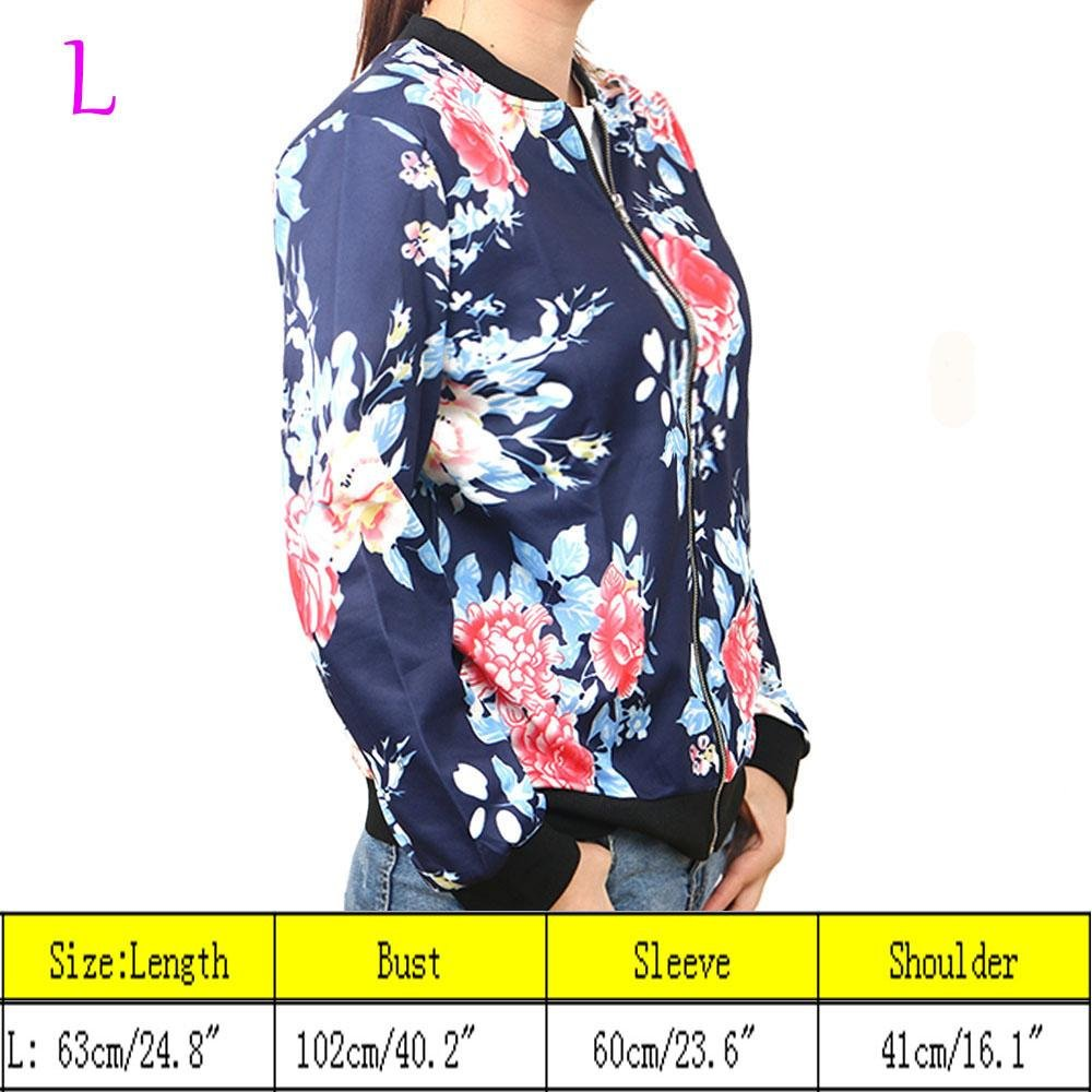 Wattern Women Zip Floral Printed Short Coat Jacket Long Sleeve