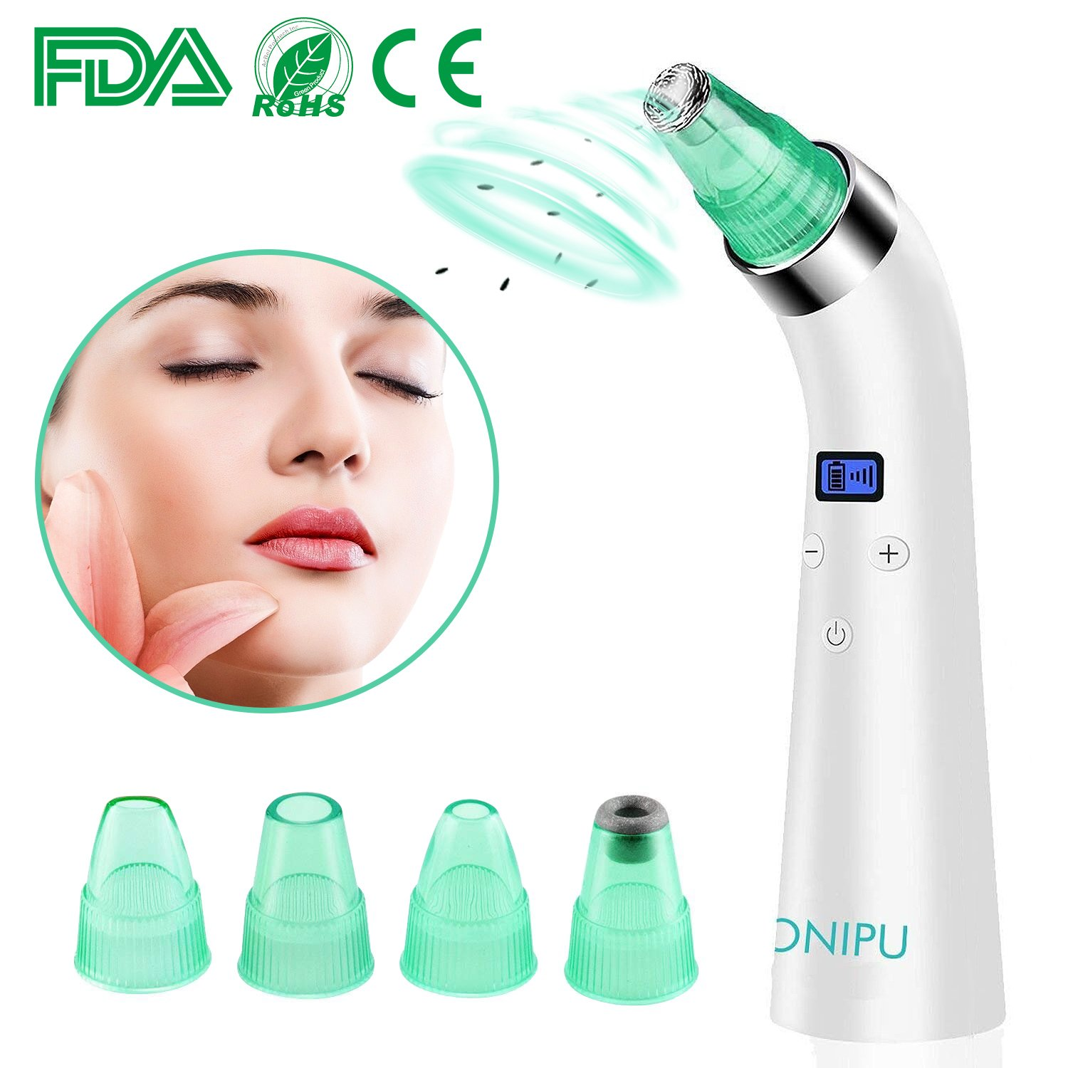 Blackhead Remover Pore Vacuum, ONIPU Electric Blackhead Remover Tool Facial Skin Care Pore Cleanser Suction Rechargeable Microdermabrasion Machine Acne Comedone Extractor with 4 Probes & LCD Display Perfect for Men & Women ONI-01
