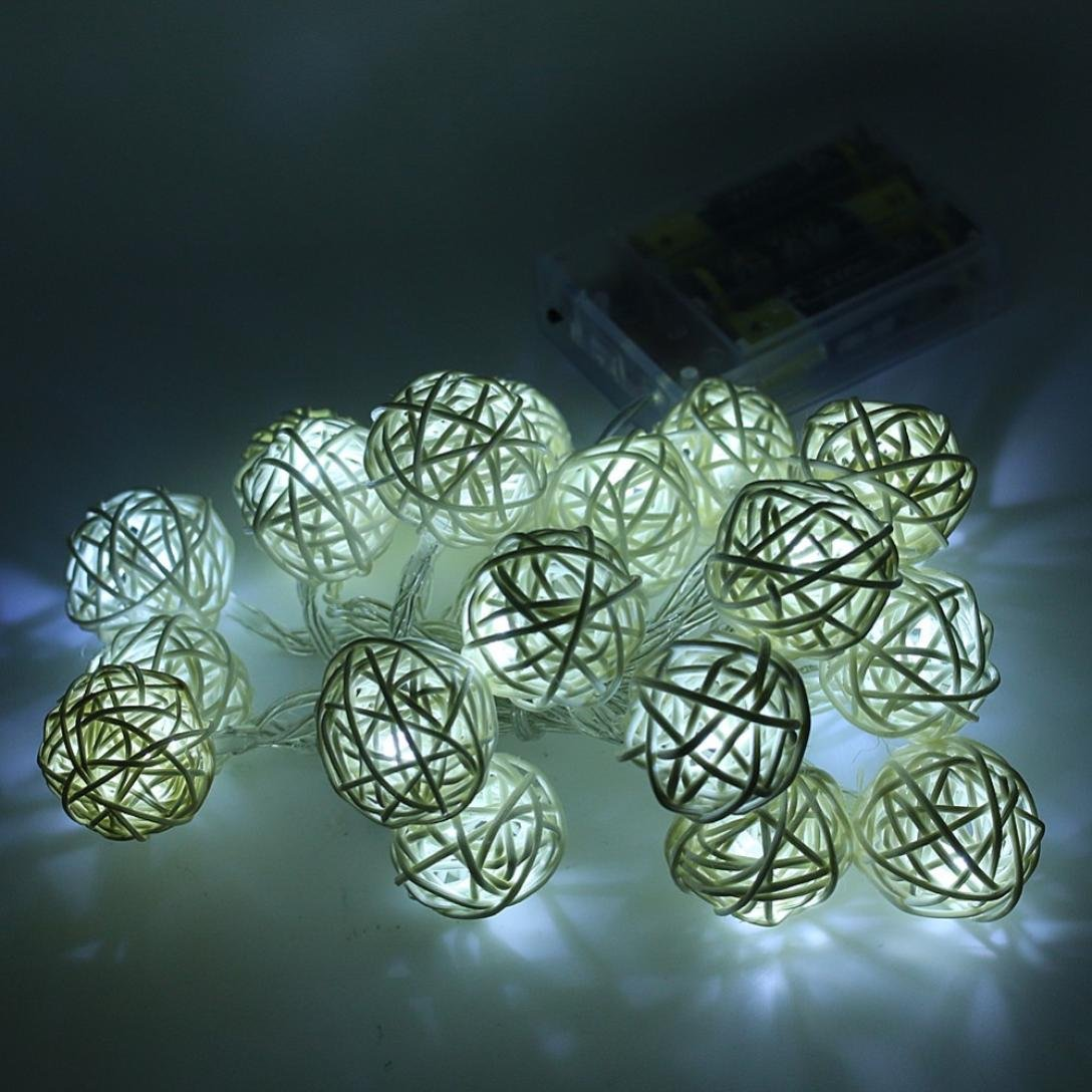 LiPing 20 LED Color Rattan Ball String Fairy Lights For Wedding Party Hot For Christmas Party Xmas Wedding Party Garden Decor (White)
