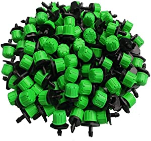 Kalolary 100Pcs 1/4Inch Adjustable Micro Drip Irrigation System Watering Sprinklers Anti-Clogging Emitter Dripper Green Garden Supplies