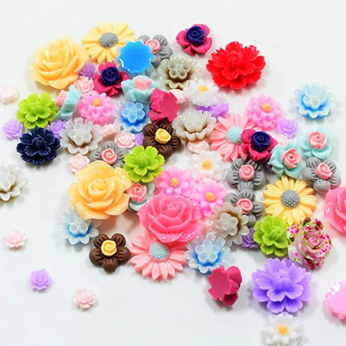50Pcs Assorted Resin Rose Flower Cabochons Phone Case Wedding Decor Craft