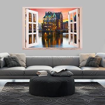 Murando 3D WANDILLUSION Wandbild Fototapete Poster XXL Fensterblick Vlies  Leinwand