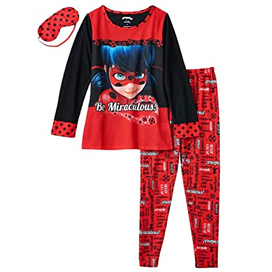 Miraculous Ladybug Girls Pajamas Set with Sleep Mask (4, Miraculous Red)