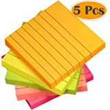 Selizo Super Sticky Notes Lined, 3 in x 3 in, 100 Sheets/Pad, 5 Colors (5)