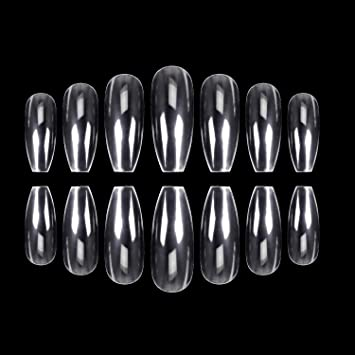 Amazon Com Ecbasket 500pcs Coffin Nails Clear Ballerina Nail Tips