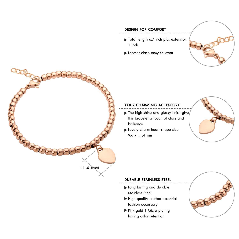555Jewelry Womens Stainless Steel Love Heart Charm Beaded Delicate Bracelet
