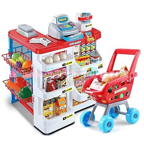 Juguetes para niños Juego de simulación Supermercado grande Caja registradora Juguete Chica Mano Empuje Carro de