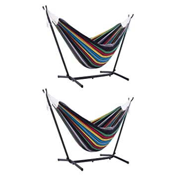 d4fa8320f47 Amazon.com: Vivere Outdoor Cotton Double Hammock with Universal Steel Stand  Combo, Rio Night (2 Pack): Sports & Outdoors