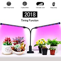 [2018 UPGRADED]Timing Function Auto Off Dual head Grow light 36LED 3 working modes 5 Dimmable Levels Full spectrum for Indoor Plants with 360 Degree Adjustable Plant light,Grow lights for indoor plants(18W Timing Function Auto Off)