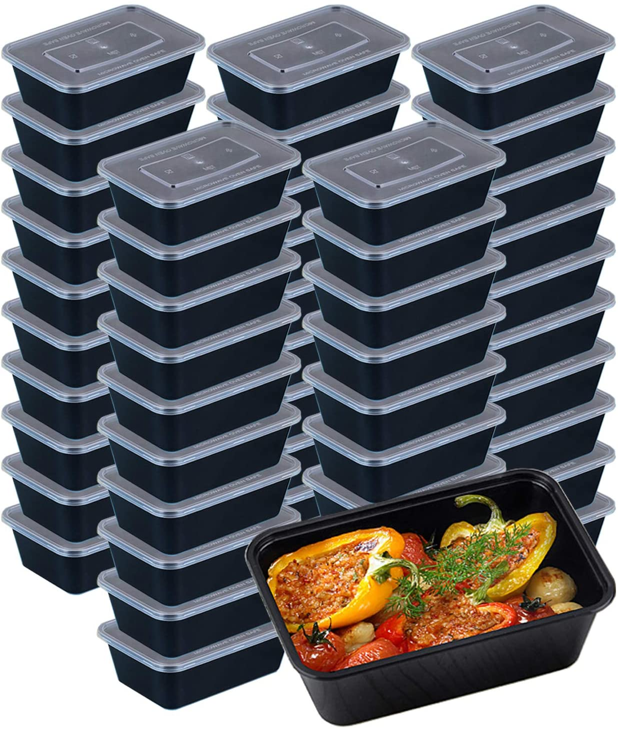50 Pack Food Storage Containers, Disposable Plastic Bento Boxes Meal Prep Containers with Lids for Microwavable Freezer Safe (750ml/25oz)