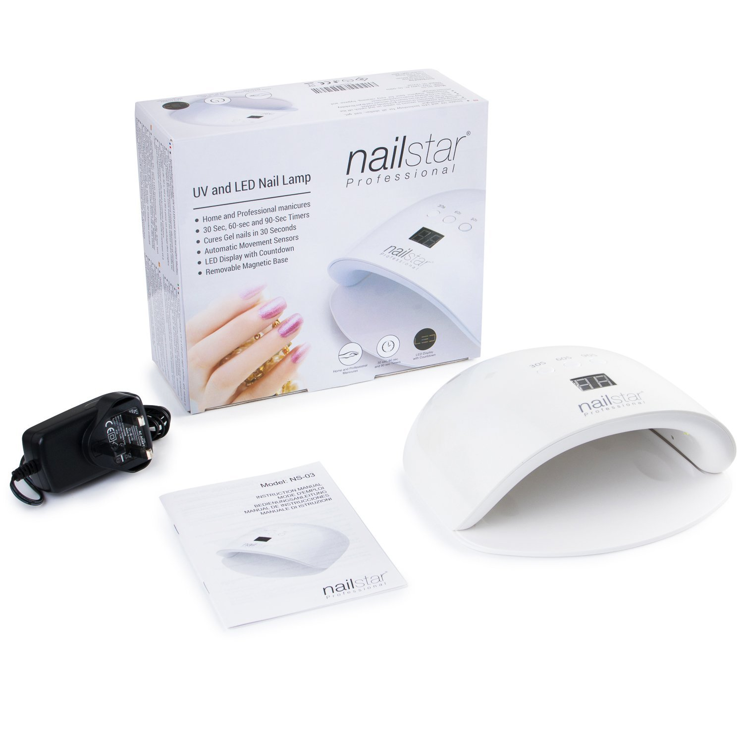 Amazon.com: NailStar® Professional UV and LED Nail Lamp and Nail Dryer with 3 Built-in Timer and LED Display for Shellac and Gel Nails): Beauty
