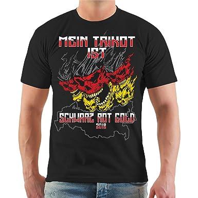 Spaß kostet Männer und Herren T-Shirt Mein Trikot ist Schwarz Rot Gold  Russland 2018
