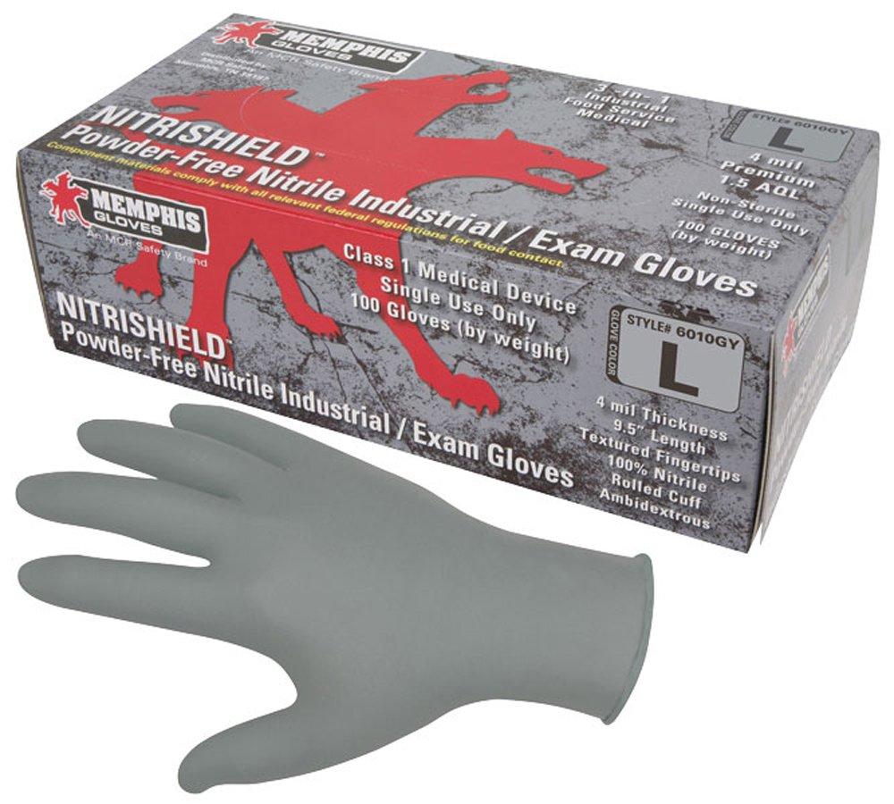 Memphis Glove 6010GYL 4 Mil Medical Nbr Gloves, Gray