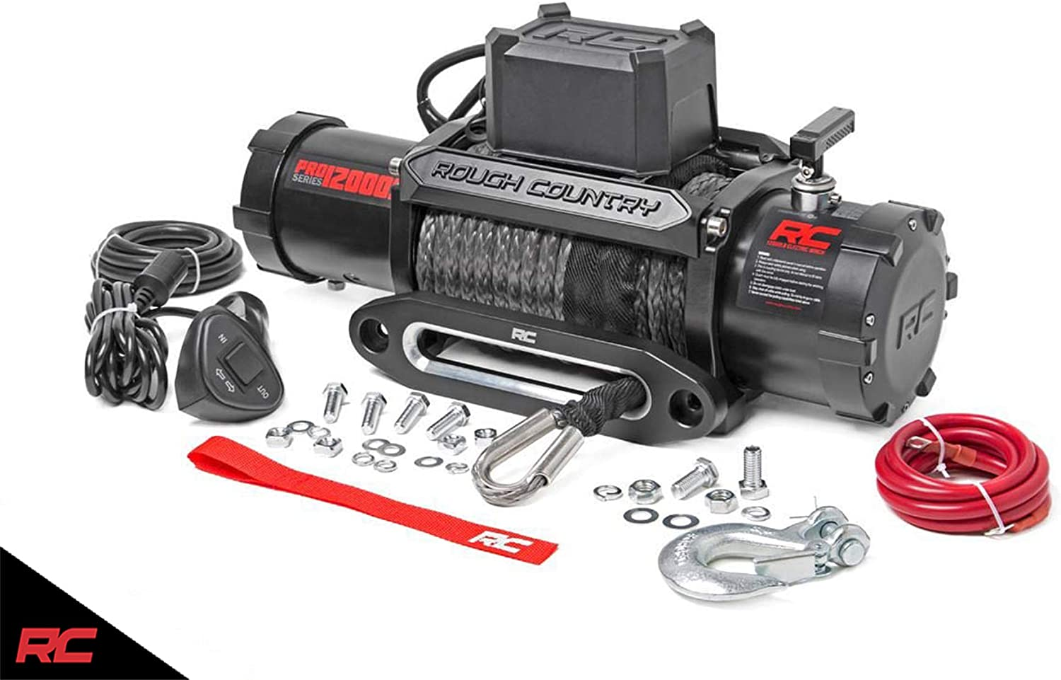 Rough Country 12,000 LB PRO Series Electric Winch w/Synthetic Rope PRO12000S
