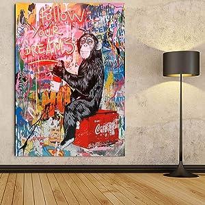 Faicai Art Banksy Graffiti Street Art Paintings Canvas Wall Art Drawing Orangutan Fluorescent'Follow Your Dreams' Superman Background Pop Art Prints Posters Wall Decor Wooden Framed 32