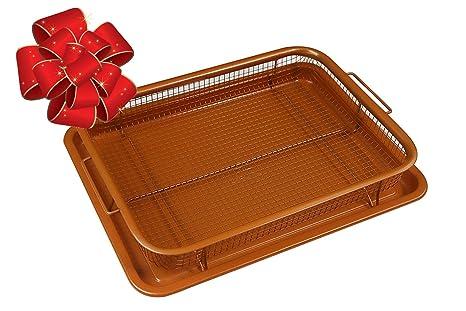 Deluxe antiadherente 2 piezas rojo cobre nítido horno aire freidora sartén/bandeja & malla cesta