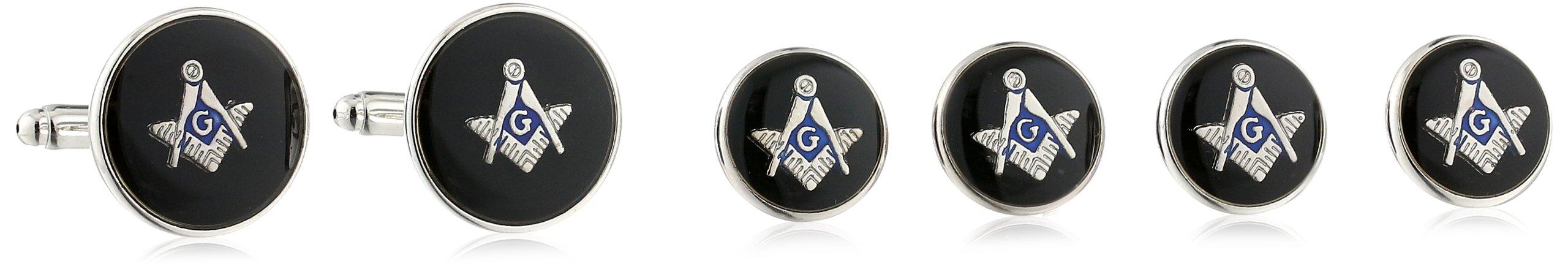 Status Men's Stud Set Masonic Round with Black Enamel With Masonic Compass, Silver, One Size