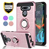 LG K50 Case LG Q60 Phone Case with HD Screen Protector, YmhxcY 360 Degree Rotating Ring & Bracket Dual Layer Shock Bumper Cover for LG K50-ZH Rose Gold (Color: ZH-Rose Gold)