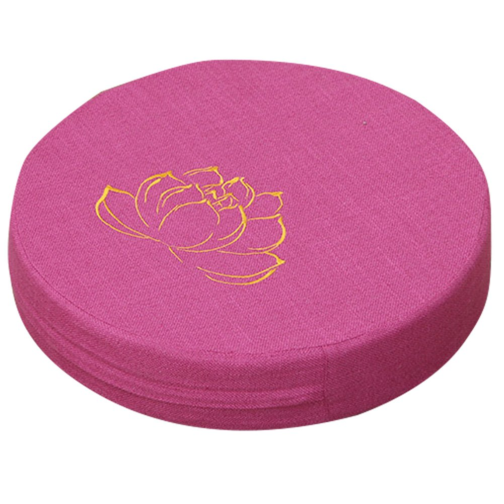 Exttlliy Linen Embroidery Lotus Round Floor Pillow Buddhist Yoga Meditation Seat Cushion for Tatami Bay Window (Rose)
