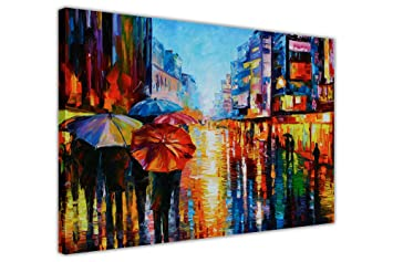 Amazon.de: CANVAS IT UP Wandbild Night Umbrellas von Leonid Afremov ...