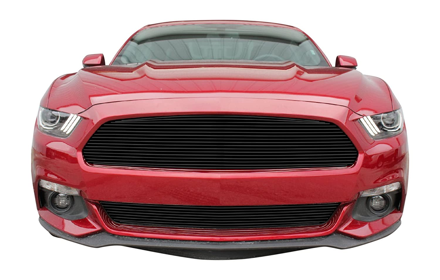 Amazon com usa made fits 2015 2017 ford mustang v6 2pc gloss black replacement billet grille combo kit automotive