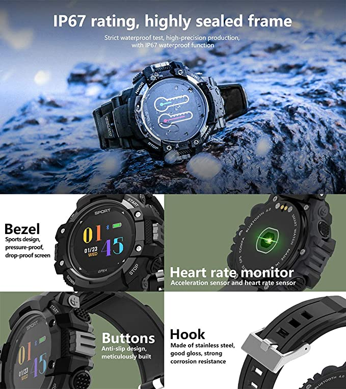luckyruby NO.1 F7 Smart Watch Real-time Heart Rate Temperature Monitor GPS Call Alert Sports Outdoor