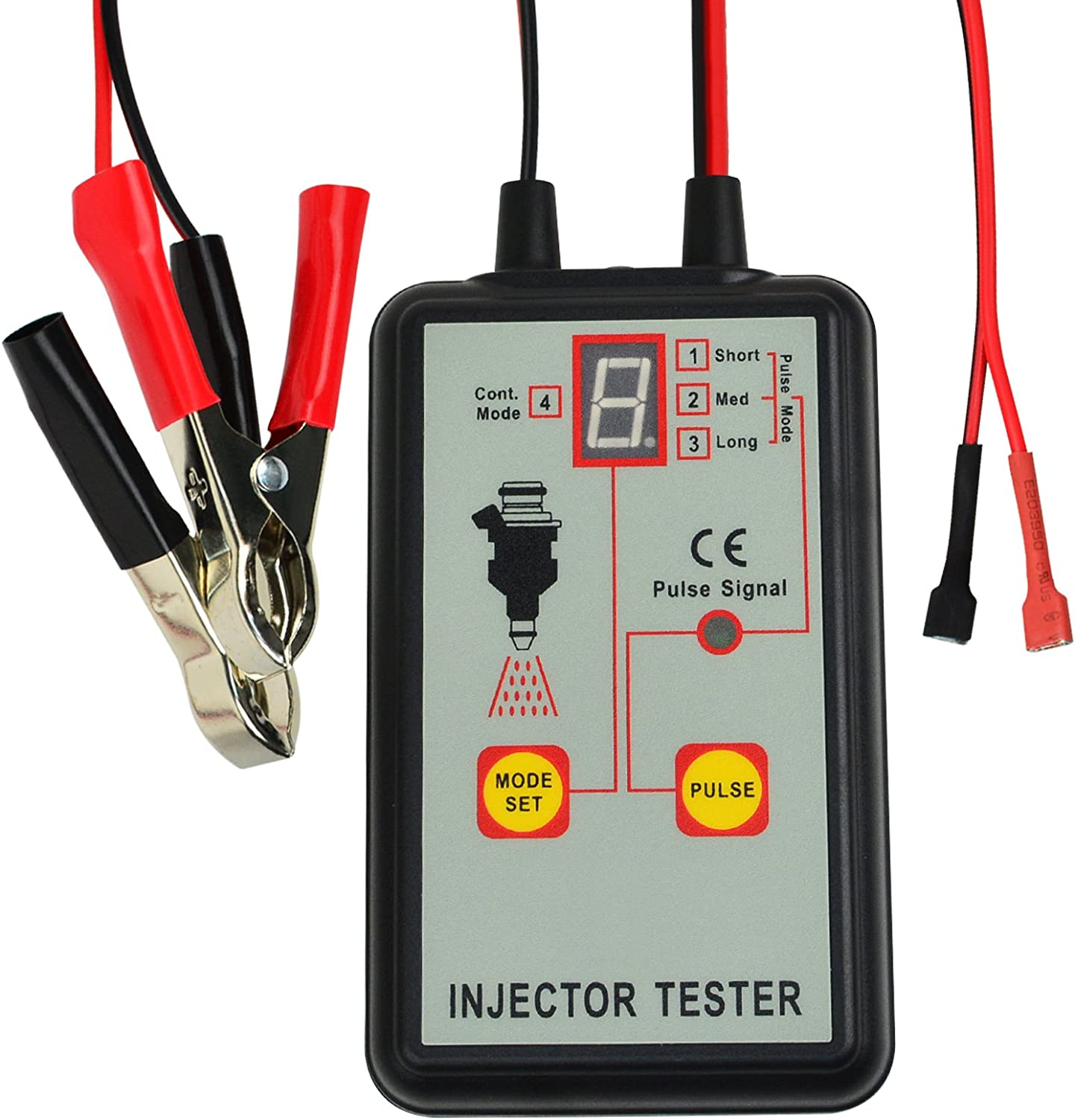 Automotive Fuel Injector Tester, 12V 4 Pulse Modes, Handheld Car Vehicle Fuel Pressure System Diagnostic Scan Testing Tool Gauge, Individual Test Stuck/Leaking/Burnt-out Problem