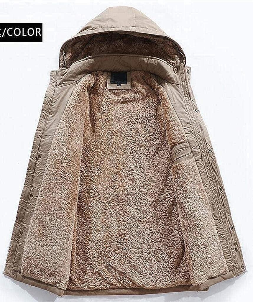 MOUTEN Mens Hooded Winter Warm Faux Fur Lined Outdoor Parka Coat Jacket Outwear