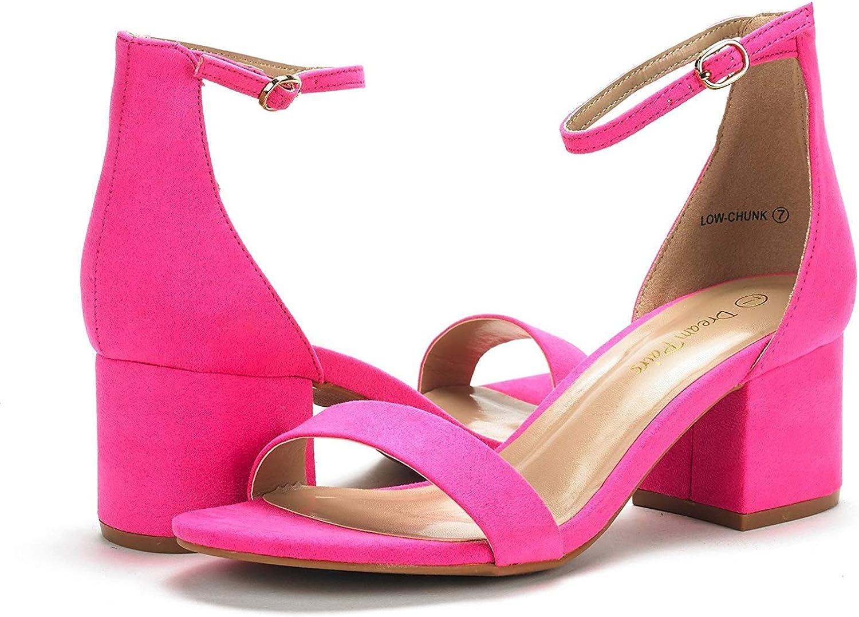 DREAM PAIRS Womens Chunk Nude Suede Low Heel Pump Sandals