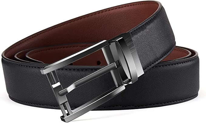 "Bulliant Reversible Leather Belt 2 Colors Black /& Brown Mens Max 38/"" Adjustable"