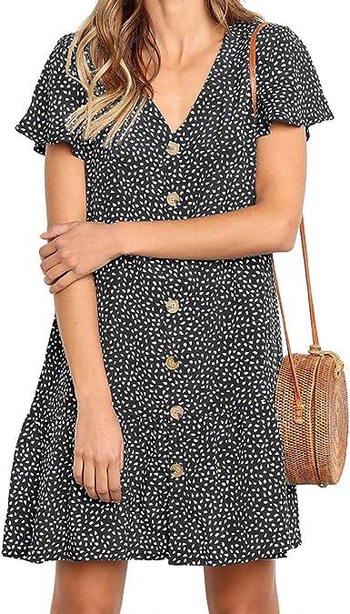 SHERONV Women's Polka Dot V Neck Button Down Ruffles Loose Mini T-Shirt  Dress at Amazon Women's Clothing store
