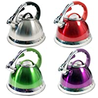 3.5L STAIINLESS STEEL LIGHTWEIGHT WHISTLING KETTLE CAMPING FISHING HOME CORDLESS (CHROME)