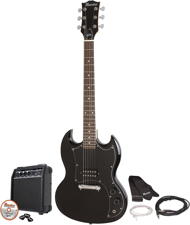 Maestro por Gibson – mesgbkch – negro doble Cutaway Guitarra ...