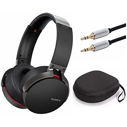 Sony XB950B1 Extra Bass Wireless Headphones with App Control, Black w/Case  & 10ft  3 5mm Cable