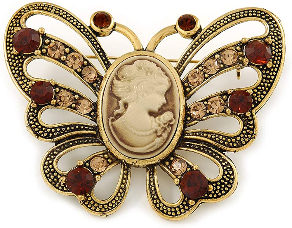 Avalaya Vintage Inspired Tan Coloured Cameo Butterfly Brooch in Antique Gold Tone - 65mm W