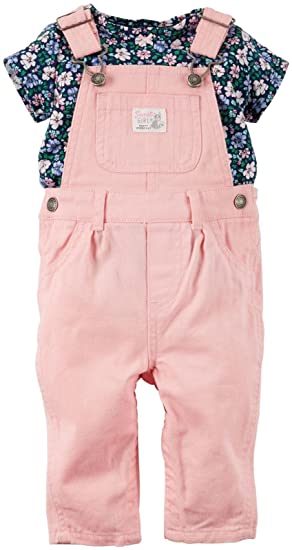 54c123b8029cc Carter's Baby Girl 2-Piece Top & Overalls Set - Pink -: Amazon.co.uk ...