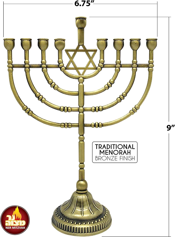 Hanukkah Menorah Ner Mitzvah Traditional Bronze Candle Menorah Chanukah Candles Traditional Rounded Branches