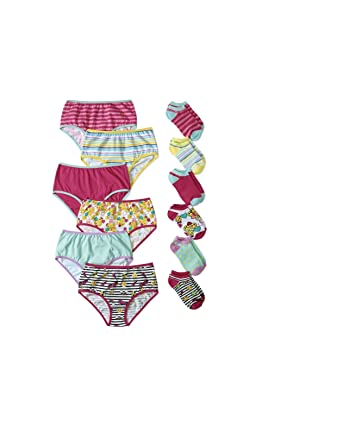 def6c4065ef Amazon.com  Wonder Nation Girls Brief Panty(Size 14) and No Show Sock  Pack(Shoe Size 4-10) 12 Pack Total  Clothing