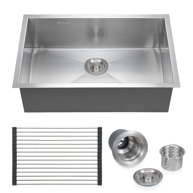 "Voilamart 28"" x 18"" Single Bowl Handmade Stainless Steel Kitchen"
