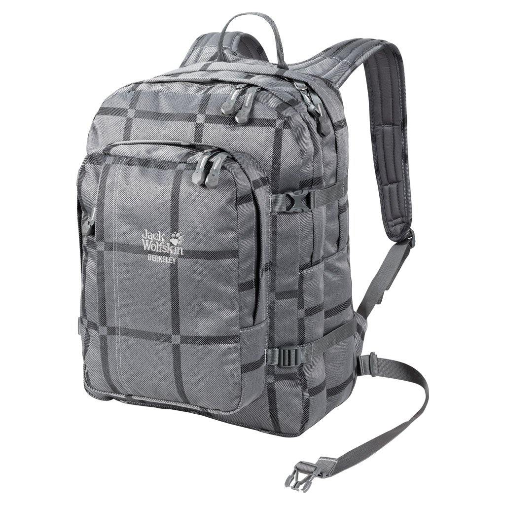 Jack Wolfskin Berkeley Y.D. Hiking Daypacks, Grey Big Check, One Size