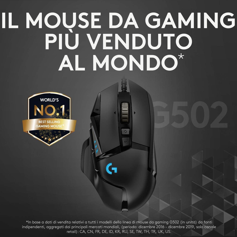 Logitech G502 HERO Mouse Gaming Prestazioni Elevate, Sensore HERO 16K, 16000 DPI, RGB, Pesi Regolabili, 11 Pulsanti Programmabili, Memoria Integrata, per PC/Mac/Laptop, Nero
