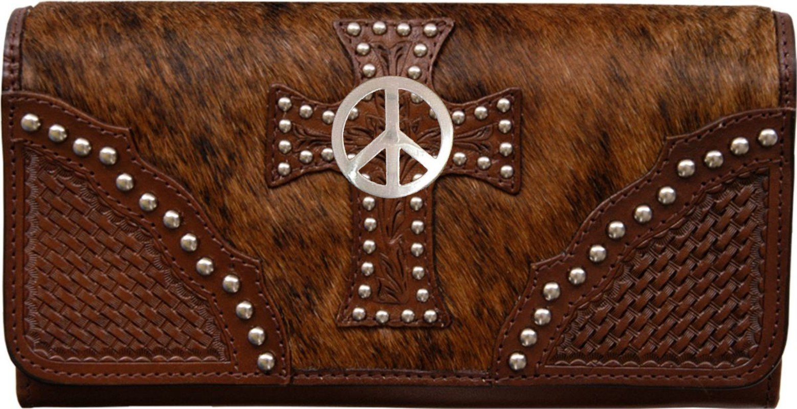 Custom Peace Sign Natural Hair Christian Clutch Wallet with removable checkbook